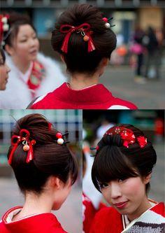2010 成人の日(Seijin No Hi) Coming of Age Day: Pre-Ceremony - 20 Coming Of Age Day, Pretty Updos, Traditional Japanese Art, Yukata, Fashion Sewing, Social Events, Cosplay, Culture, Hair Styles