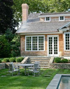Eclectic Cottage Interior Design in White: Fancy Minimalist Patio Furniture Hamptons Cottage Exterior Design ~ SQUAR ESTATE Villa Cottage Design, Cottage Style, House Design, Lake Cottage, Coastal Cottage, Patio Design, Exterior Design, Garden Design, Fresco