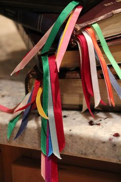IMG_2772 My Dad, Rev. Ernie Richter, would add ribbons to his bibles in order to read them through in a year easily. Read my blog post to see how he did it. Cheers, Karen http://edgehillherbfarm.wordpress.com/2013/05/27/dads-read-thru-the-bible-in-a-year-program/