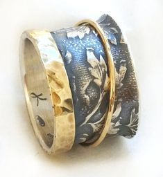 Sterling silver oxidized bullet shaped leaves ring by ilanamir