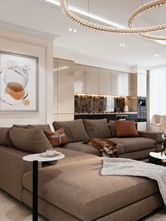 An amazing and mesmerizing design by Domoff Interirors! #designinspiration #designideas #interiordesign #interiorinspirations #designgoals #livingroom #sofa #chandelier #pillow #centertable #sidetable #livingroom #livingroomdesign Modern Classic Bedroom, Sofa, Couch, Center Table, Living Room Designs, Chandelier, Design Inspiration, Interiors, Contemporary