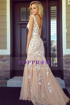 2015 Evening Dresses Bateau Sleeveless Tulle Zipper Up Back With Sash/Ribbon Champagne