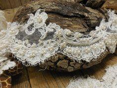 Elegant FAux Pearl Heavily Beaded & Sequin by IronandLaceLinens