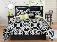 Sunset and Vine Kennedy 8-Piece Queen Comforter Set, Black/White by Sunset and Vine, http://www.amazon.com/dp/B003FQ9ZBQ/ref=cm_sw_r_pi_dp_pAwxrb18294H0