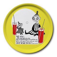 Bright yellow tray featuring Mymble and Little My with glasses filled with lemonade. It�s handmade with a classic motif taken from Tove Jansson's original drawings. High quality wood, made in Sweden. Suitable for dishwasher.
