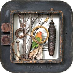 assemblage art by mike bennion - 'curtain up'