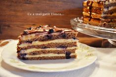 Tort cu nuca crema de vanilie si afine - Retete Timea Dessert Recipes, Desserts, Tiramisu, Ethnic Recipes, Food, Sweet Treats, Meal, Deserts, Essen