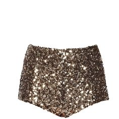 French Connection Cosmic Sparkle Hot Pant Shorts, Tiger Gold ($51) found on Polyvore featuring shorts, bottoms, pants, short shorts, gold sequin shorts, high waisted short shorts, high-waisted shorts and high waisted hot pants