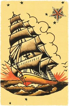 11 x 17 Pirate Ship masted sailing vessle Navy boat Sailor Jerry Style Flash Poster Print decoration