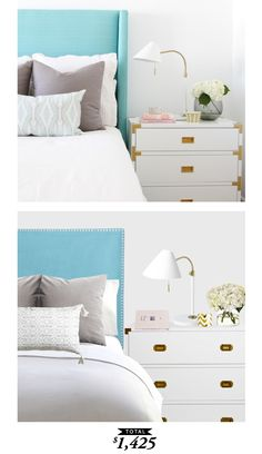 A fresh and bright master bedroom for spring designed by @Becki_owens and recreated for only $1425 by @audreycdyer