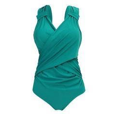 Sexy V-Neck Design, Push Up, Plus Size, Swimwear, One-Piece Swimsuit, Green, Red