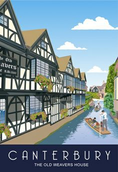 A modern style view of The Weavers House, Canterbury, drawn by a Kent based artist. Posters Uk, Railway Posters, Illustrations And Posters, Poster Prints, Uk And Ie Destinations, Magazin Covers, Scotland History, British Travel, Tourism Poster