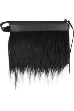 3.1 Phillip Lim | Depeche small goat hair-trimmed leather clutch | NET-A-PORTER.COM