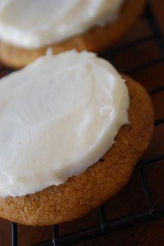 Pumpkin Cookies + Cream Cheese Frosting =Fall Bliss Pumpkin Cookies 1 cup butter 1 cup pumpkin 1 egg 1 c. Cookie Desserts, Just Desserts, Cookie Recipes, Delicious Desserts, Dessert Recipes, Yummy Food, Cheesecake Cookies, Pumpkin Cheesecake, Cookie Bars