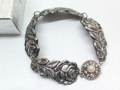 Besteckschmuck Silberarmreif Antikes Silberarmband von Schmuckbaron