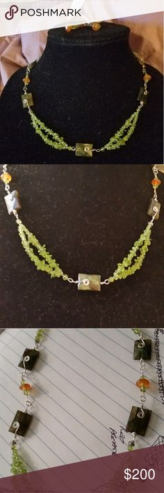 Custom crafted silver and natural stone set Faceted Labradorite, Peridot rounds and chips, and Carnillian crafted in silver styling. Never worn*. & Other Stories Accessories