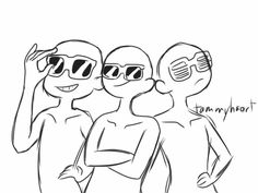 Draw The Squad: Sunglasses Trio Edition Funny Drawings, Anime Drawings Sketches, Drawing Reference Poses, Drawing Tips, Drawing Techniques, Draw Your Oc, Drawing Body Poses, Draw The Squad, Drawing Templates