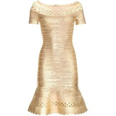 Hervé Léger Katherina Metallic Bandage Dress (7,910 PEN) ❤ liked on Polyvore featuring dresses, gold, metallic, gold dress, beige dress, yellow gold dress, metallic dress and beige cocktail dress