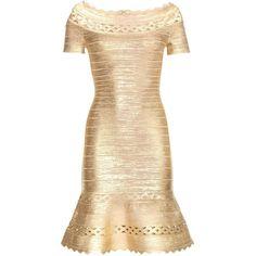 Hervé Léger Katherina Metallic Bandage Dress (7,910 PEN) ❤ liked on Polyvore featuring dresses, gold, metallic, gold dress, beige dress, yellow gold dress, metallic dress and beige cocktail dress