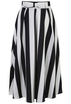 Bowknot Contrast Striped A-Line Midi Skirt