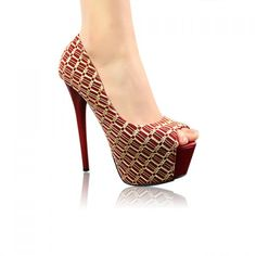 Fashion Mesh and Sexy High Heel Design Women's Peep Toed Shoes