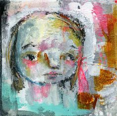Megan is painted on a canvas. It measures 4 x 4. by Mindy Lacefield