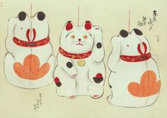 These watercolour sketches of traditional Japanese folk toys are a national treasure. Japanese Art Styles, Japanese Artwork, Japanese Prints, Japanese Style, Japanese Mask, Japanese Toys, Vintage Japanese, Japanese Illustration, Cute Illustration