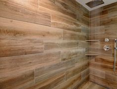 Wood plank shower ti