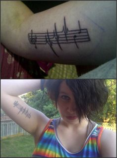 The story about the girl with this tattoo is that she is a lesbian. She told her friends and they spread it thoughout the school. She tried to kill herself. She failed, but found that through music, she was able to not care about what people said. She was able to heal. She was able to accept herself. Music keeps people alive.
