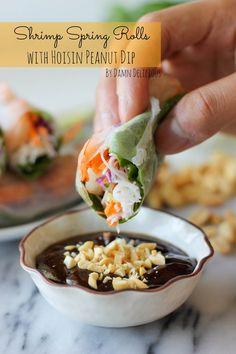Shrimp Spring Rolls with Hoisin Peanut Dip @Chung-Ah Rhee