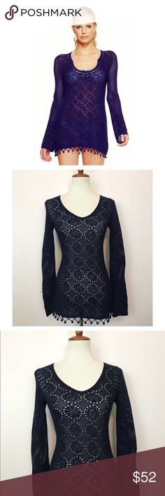 Lilly Pulitzer ✨ Crochet Athena Top Navy blue long sleeve crochet Lilly Pulitzer Athena top. Super cute design with pom pom detail around base! Adorable with a camisole under or use as a swimsuit cover! Lilly Pulitzer Tops