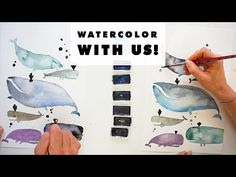 (92) Learn How to Watercolor With Us! | The Whale Edition - YouTube Watercolor Animals, Watercolor Ideas, Whale, Decoupage, Learning, Movie Posters, Youtube, Art, Kunst