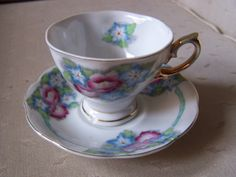 Blue Floral Fine Bone English China Teacup and Saucer