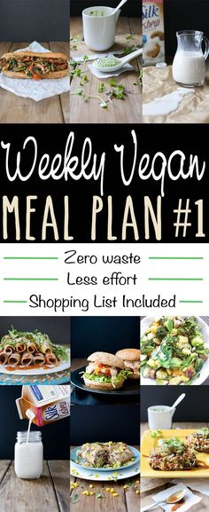 Vegan Meal Plan: Minimal waste and minimal effort - burritos burgers pasta stuffed mushrooms veggie philly sandwiches tacos ; Vegan Foods, Vegan Dishes, Vegan Recipes, Vegan Meals, Vegan Desserts, Easy Recipes, Vegan Starter Recipes, Copycat Recipes, Vegan Meal Plans