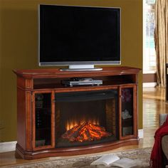 Stewart Electric Fireplace Media Console in Burnished Pecan - MTVSC3303SBP