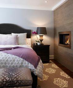 slaapkamer in paars-grijs-bruin.