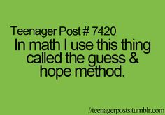 In math I use this thing called and the guess and hope method