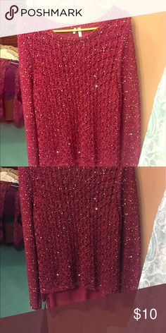 Sparkly, red sweater Sparkly, red sweater with sheer material at the bottom. Worn once Maurices Sweaters Crew & Scoop Necks