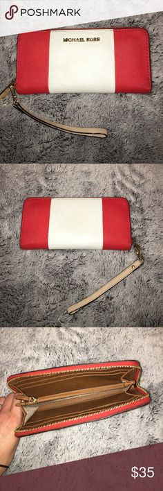 "Michael Kors Wallet/Clutch EUC Red and white Michael Kors wallet/clutch. Measures 8"" long. Michael Kors Bags"