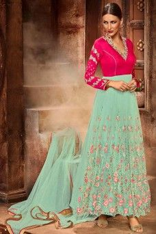 Net Designer Partywear Floral Embroidered Anarkali Suit in Sea Green and Pink Colour