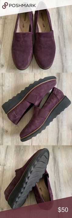 7d5050b648 Clarks Sharon Tori Wedge Slip-On Eggplant NEW New Clarks Sharon Tori Wedge  Slip-