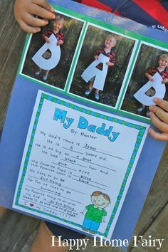 A cute idea for younger kids for Father's Day! A questionnaire all about their father and a cute  picture make an adorable keepsake!