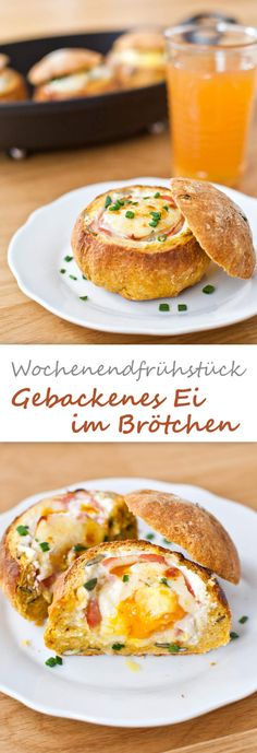 Baked eggs in bread roll {breakfast- Gebackene Eier im Brötchen {frühstück Baked eggs in a bun - Grilling Recipes, Cooking Recipes, Healthy Recipes, Snacks Recipes, Egg Recipes, Pizza Recipes, Eggs In Bread, Baked Eggs, Soul Food