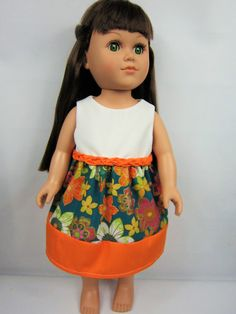 """18"""" Girl Doll Clothes, Orange White with Flower Doll Dress, American Made 18"""" Doll Clothes, girl birthday gift, girl christmas gift"""
