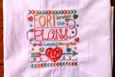 Embroidered dish towel scripture Bible verse flour by jessiemae