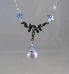 Tiny Twig Swarovski Crystal & Pearl Lariat  Necklace by deblane144, $24.00