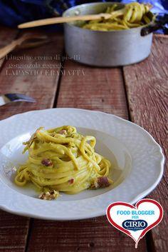 Linguine con crema di piselli, gorgonzola e speck @27febo11 #foodblogger #pomodoro #ricetta #recipes #tomato #recipe #italianrecipe #linguine #piselli #gorgonzola #speck