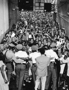 Stage Door Glimpse of Elvis Starts Riot - Aug. 3, 1956. The Olympia Theatre - Miami, FL