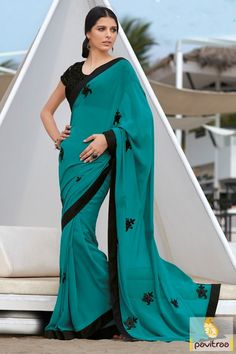 Dark Cyan Plain Party Saree With Designer Blouse #PartyWearSaree #PlainpartyWearSareeWithHeavyBlouse #IndianPartyWearDesignerSaree #LatestPartyWearSaree More: http://www.pavitraa.in/store/party-wear-saree/?utm_source=hp&utm_medium=pinterestpost&utm_campaign=23july