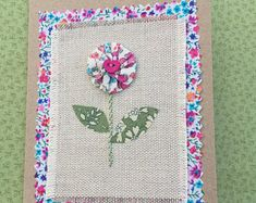 Handmade liberty tana lawn fabric greetings card suitable for birthday, Mother's day, thank you card Embroidery Hoop Art, Embroidery Ideas, Fabric Cards, Lawn Fabric, Paper Crafts, Diy Crafts, Machine Applique, Mothers Day Cards, Deco